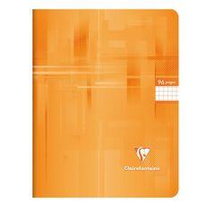 CLAIREFONTAINE Cahier piqué 21x29,7cm 96 pages petits carreaux 5x5 orange