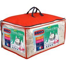 DODO Pack couette chaude anti-acariens en microfibre 400 g/m² + oreiller(s) COCON D'HIVER