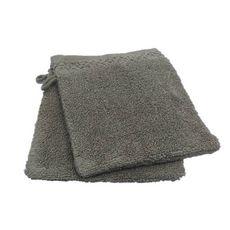 ACTUEL Lot de 2 gants de toilette unis en pur coton qualité Zéro Twist  500 g/m² (Beige)