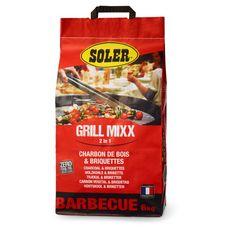 SOLER Grill mixx 2en 1 Charbon de bois et briquettes pour barbecue 6kg 6kg
