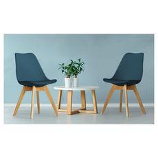 Lot de 2 chaises pieds bois massif LYDIA (Bleu)