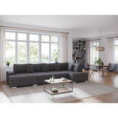 Canapé d'angle droit panoramique convertible tissu velours 5 places RECEPTION