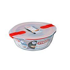 PYREX  Plat rond en verre + couvercle en plastique 26 cm Cook and Heat