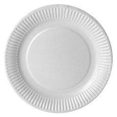 ACTUEL Assiettes à dessert en carton blanc 18cm compostables x50 50 pièces