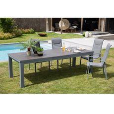 GARDENSTAR Table de jardin aluminium gris 256.8/321x100cm TOUQUET