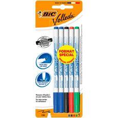 BIC Lot de 5 marqueurs pour tableau blanc effaçables à sec pointe fine VELLEDA noir/bleu/rouge/vert