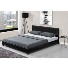 Lit LED avec tête de lit et sommier à lattes 160x200 cm MARTIN (Noir)