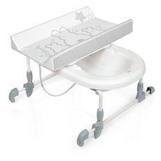 BREVI BAGNOTIME Table à langer adaptable sur baignoire adulte - lapinou perle