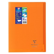 CLAIREFONTAINE Cahier piqué polypro Koverbook 21x29,7cm 96 pages grands carreaux Seyes orange