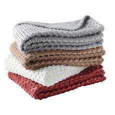 ACTUEL Plaid polaire uni en polyester effet gaufré