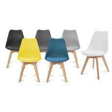Lot de 2 chaises pieds bois massif LYDIA (Gris clair)