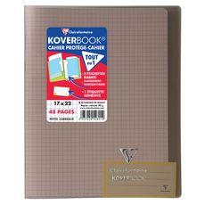 CLAIREFONTAINE Caher piqué polypro Koverbook 17x22cm 48 pages petits carreaux 5x5 translucide noir