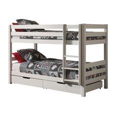 Lit superposé WOODY 90x200cm, séparables +tiroirs (Blanc)