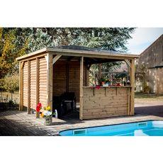 Abri de piscine en bois massif BLUETERM - 14,36 m2 - THB 3535.CCVV