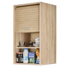 Rangement de cuisine à rideau coloris chêne L40 cm - COOKING (chêne/chêne)
