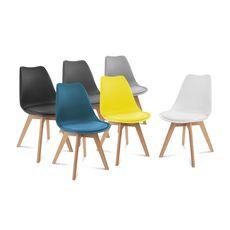 Lot de 6 chaises pieds bois massif LYDIA (Bleu)