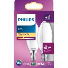 PHILIPS Ampoule flamme LED E14 - Blanc chaud dépoli 40W