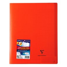 CLAIREFONTAINE Cahier piqué polypro Koverbook 24x32cm 96 pages grands carreaux Seyes rouge transparent