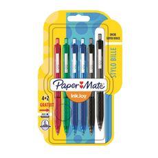 PAPERMATE  Lot de 6 stylos roller rétractable pointe moyenne InkJoy coloris assortis