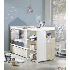 BABY PRICE Lit bébé combiné 120x60 cm évolutif en 90x190 cm HAPPY, Hêtre cendré