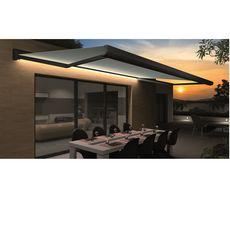 INTERSUN Store motorisé 5x3m ROMA LED toile unie coffre intégral gris  (Gris anthracite)