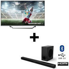 Pack TV QLED 55U7QF 4K Ultra HD 139 cm Smart TV & Barre de son 2.1 HISENSE HS218