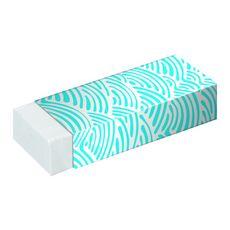AUCHAN Lot de 2 gommes blanches rectangulaires avec fourreau motif bleu