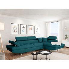 Canapé d'angle droit convertible 4 à 5 places CHICAGO, tissu bleu canard