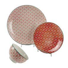 Service vaisselle 18 pièces en porcelaine corail
