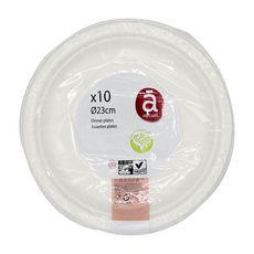 ACTUEL Assiettes en carton blanc 23cm compostables x10 10 pièces