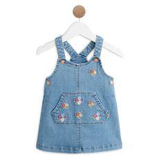 IN EXTENSO Robe en jean imprimé fleurs bébé fille
