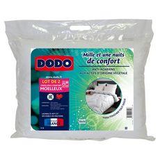 DODO Lot de 2 oreillers moelleux en microfibre anti-acariens MILLE ET UNE NUITS