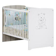 BABY PRICE Ensemble Lit bébé 60x120 cm + commode à langer + armoire BASILE