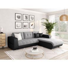 Canapé d'angle droit convertible CLELIA, 4 places, tissu microfibre gris PU blanc ou noir