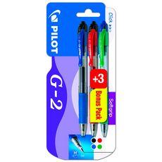 Lot de 3+3 Rollers G2 - rétractable - Encre Gel - noir bleu rouge vert - pointe moyenne