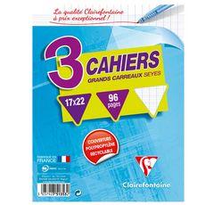 CLAIREFONTAINE Lot de 3 cahiers piqués 17x22cm 96 pages grands carreaux Seyes coloris assortis