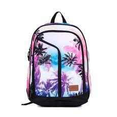 Sac à dos 2 compartiments + poches avant Blanc, rose et bleu imprimé palmiers