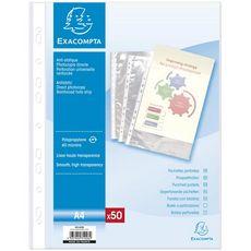 EXACOMPTA Lot de 50 pochettes perforées lisses A4