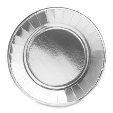 ACTUEL Assiettes unies métallisées 23cm argent x20 20 pièces