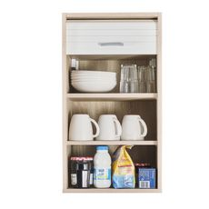 Rangement de cuisine à rideau coloris chêne L40 cm - COOKING (chêne/blanc)