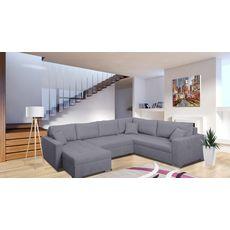 Canapé d'angle droit convertible panoramique 5 places tissu avec coffre MAGNUS (Gris)
