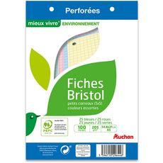AUCHAN Lot de 100 fiches bristol 14,8x21cm petits carreaux 5x5 perforées couleurs assorties 100 fiches
